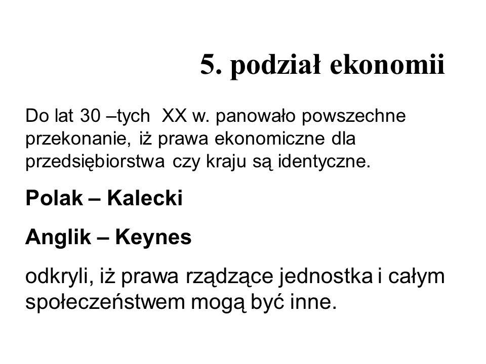 5. podział ekonomii Polak – Kalecki Anglik – Keynes