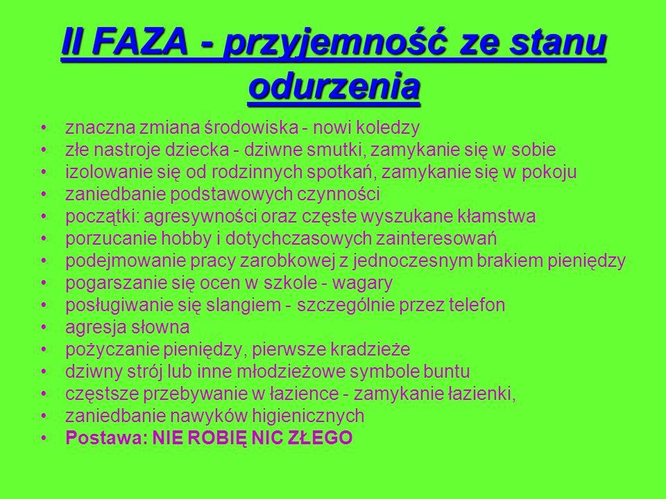II FAZA - przyjemność ze stanu odurzenia