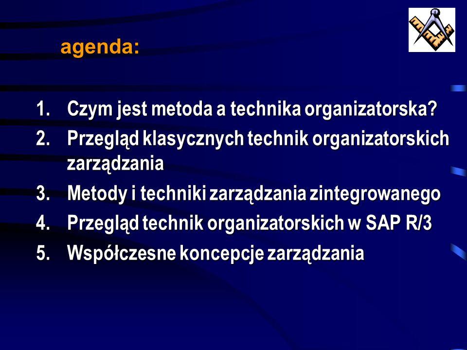 agenda: Czym jest metoda a technika organizatorska Przegląd klasycznych technik organizatorskich zarządzania.