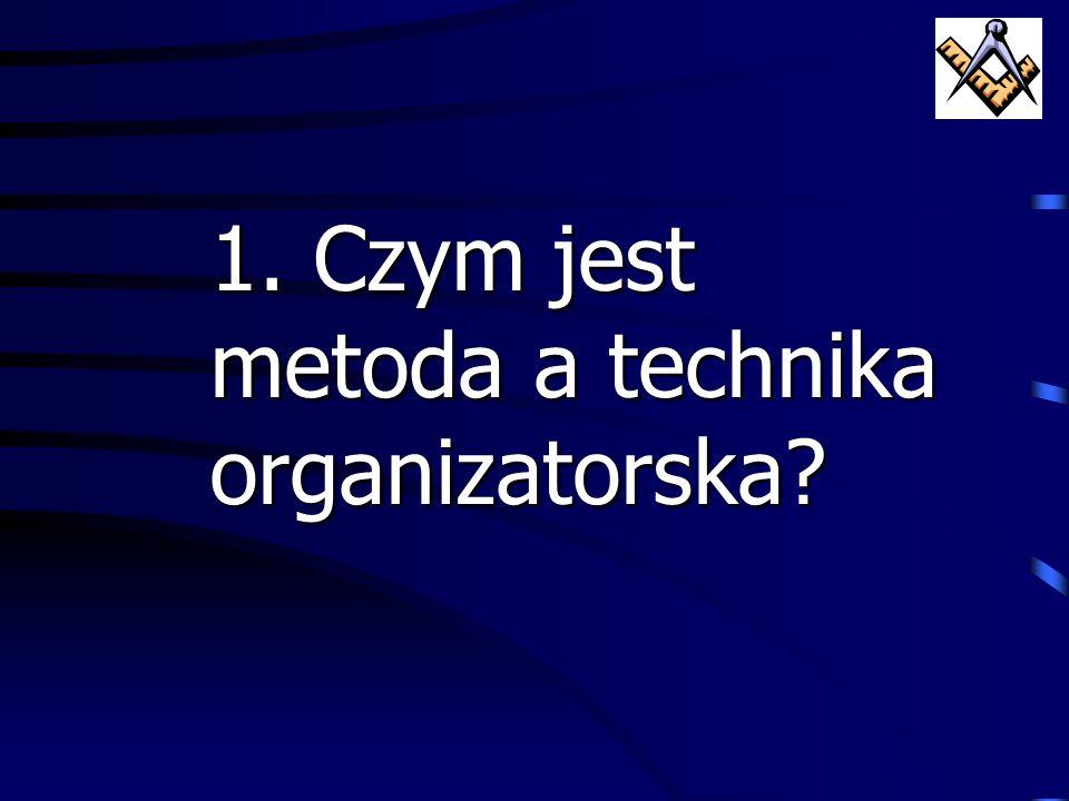 1. Czym jest metoda a technika organizatorska