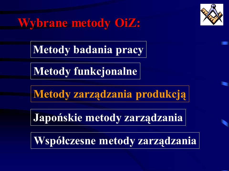 Wybrane metody OiZ: Metody badania pracy Metody funkcjonalne