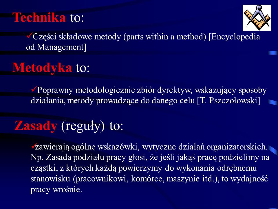Technika to: Metodyka to: Zasady (reguły) to: