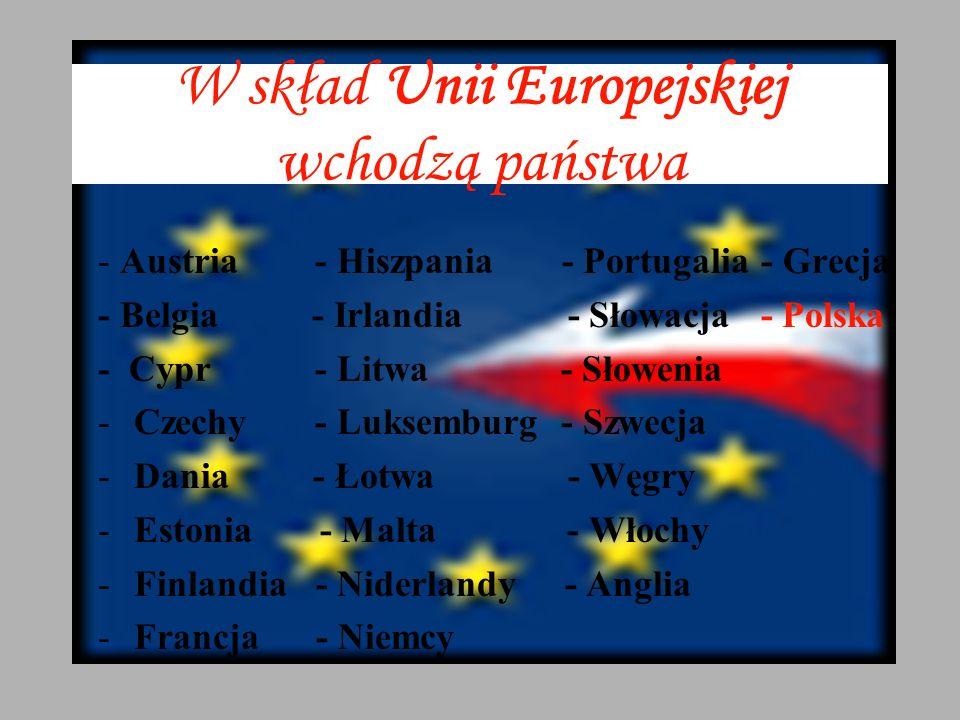 W skład Unii Europejskiej wchodzą państwa