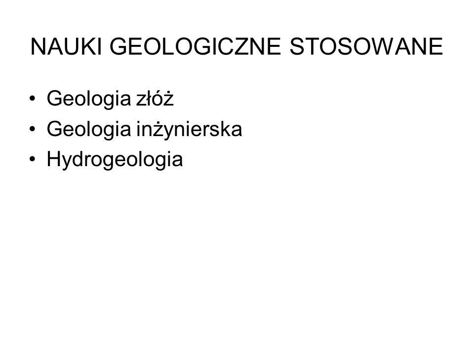 NAUKI GEOLOGICZNE STOSOWANE