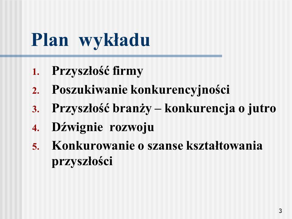 Plan wykładu Przyszłość firmy Poszukiwanie konkurencyjności