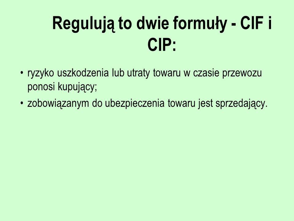 Regulują to dwie formuły - CIF i CIP: