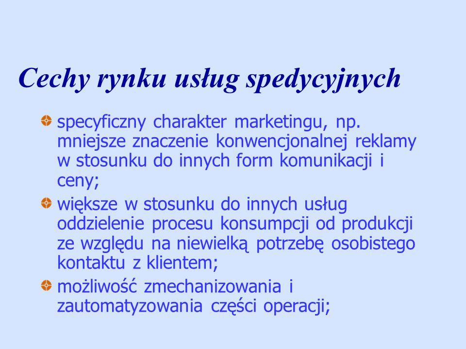Cechy rynku usług spedycyjnych