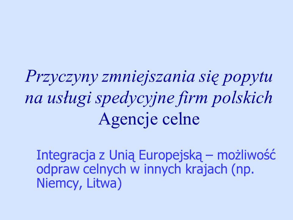 Przyczyny zmniejszania się popytu na usługi spedycyjne firm polskich Agencje celne