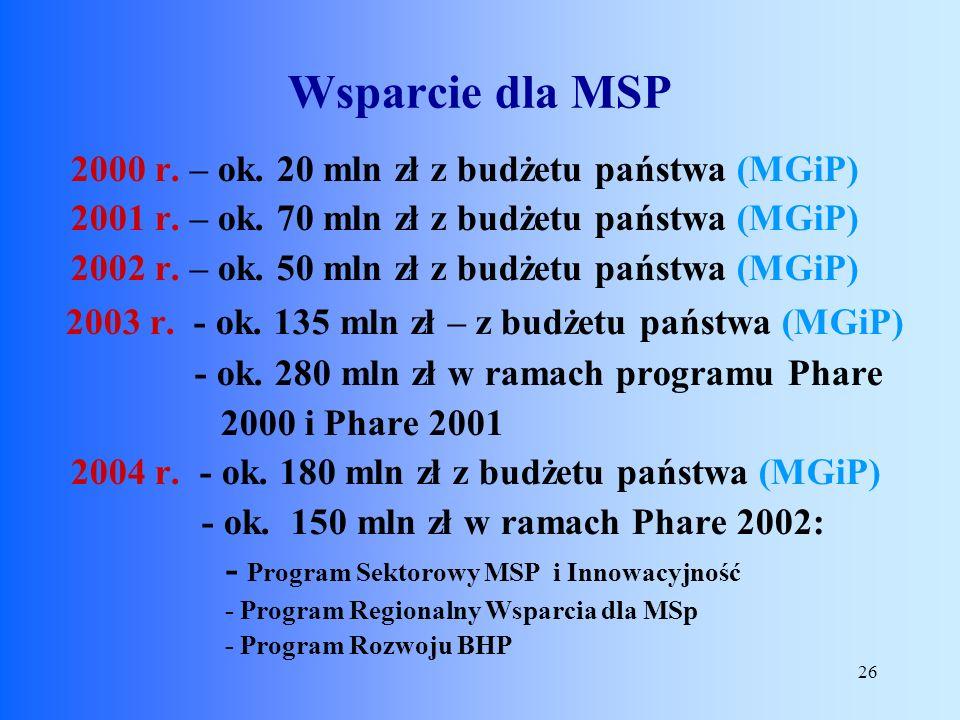 Wsparcie dla MSP 2003 r. - ok. 135 mln zł – z budżetu państwa (MGiP)