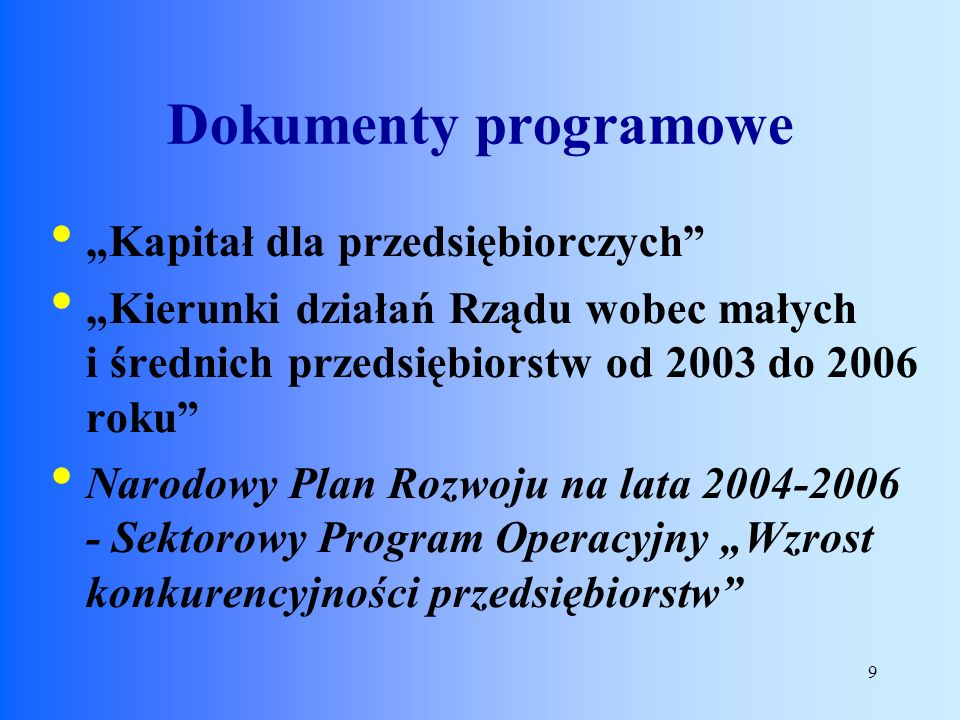 """Dokumenty programowe """"Kapitał dla przedsiębiorczych"""