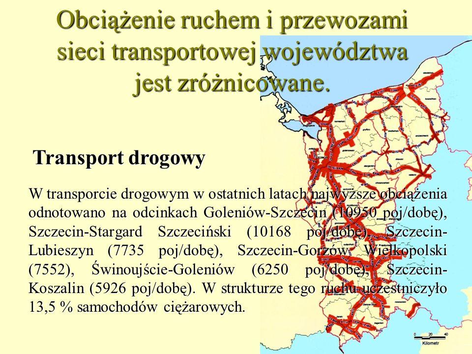 Obciążenie ruchem i przewozami sieci transportowej województwa jest zróżnicowane.