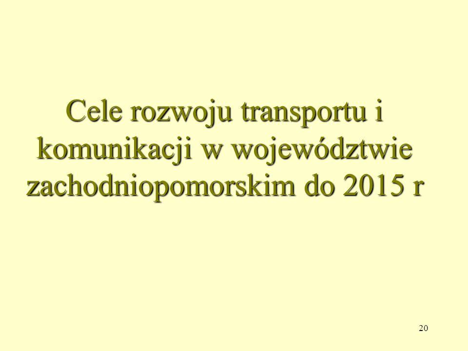 Cele rozwoju transportu i komunikacji w województwie zachodniopomorskim do 2015 r