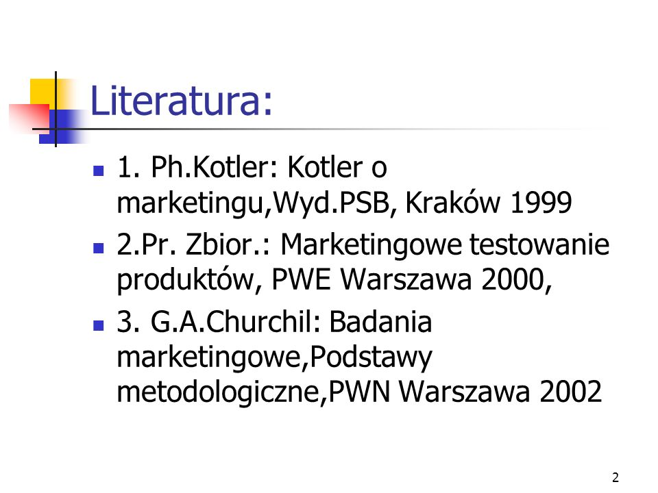 Literatura: 1. Ph.Kotler: Kotler o marketingu,Wyd.PSB, Kraków 1999