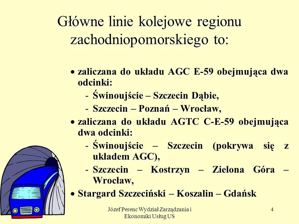 Główne linie kolejowe regionu zachodniopomorskiego to: