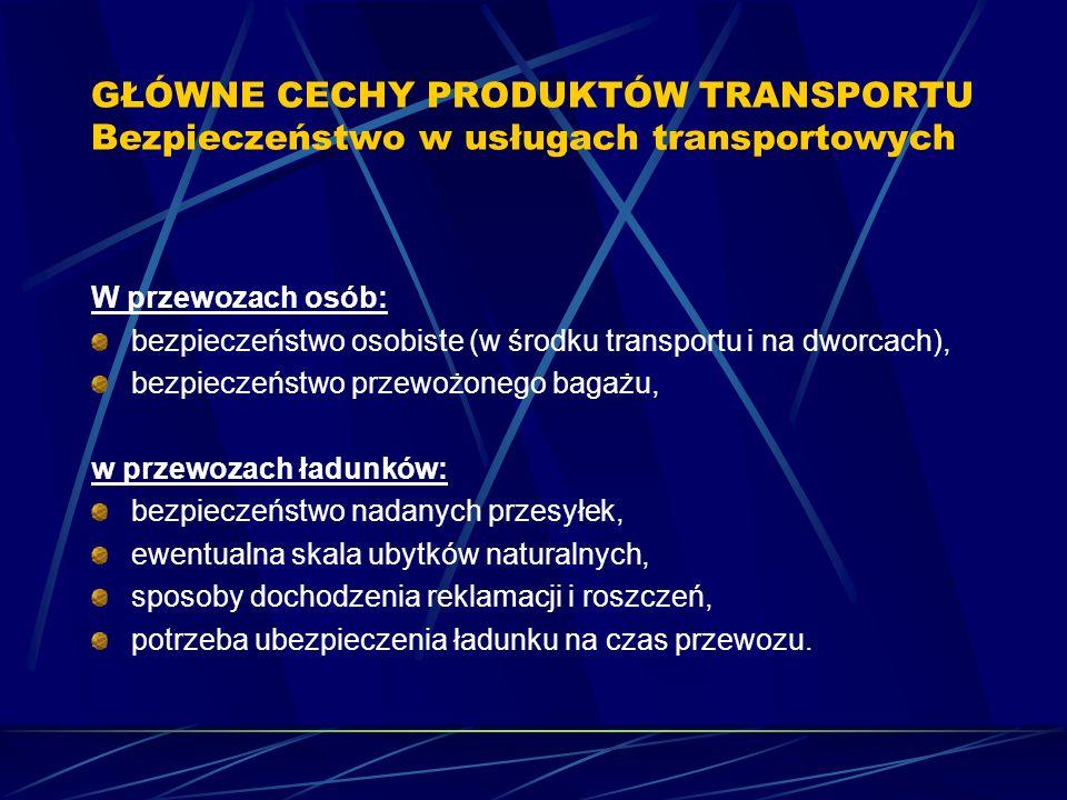 GŁÓWNE CECHY PRODUKTÓW TRANSPORTU Bezpieczeństwo w usługach transportowych