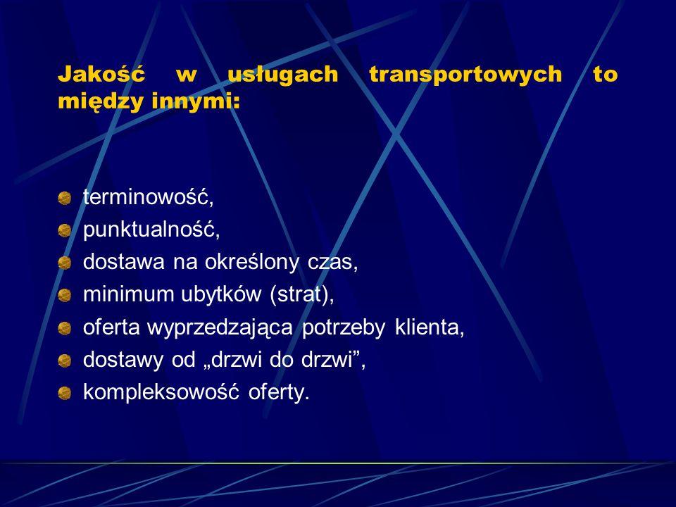 Jakość w usługach transportowych to między innymi: