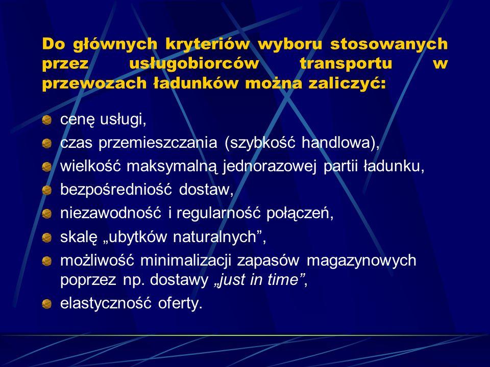 Do głównych kryteriów wyboru stosowanych przez usługobiorców transportu w przewozach ładunków można zaliczyć: