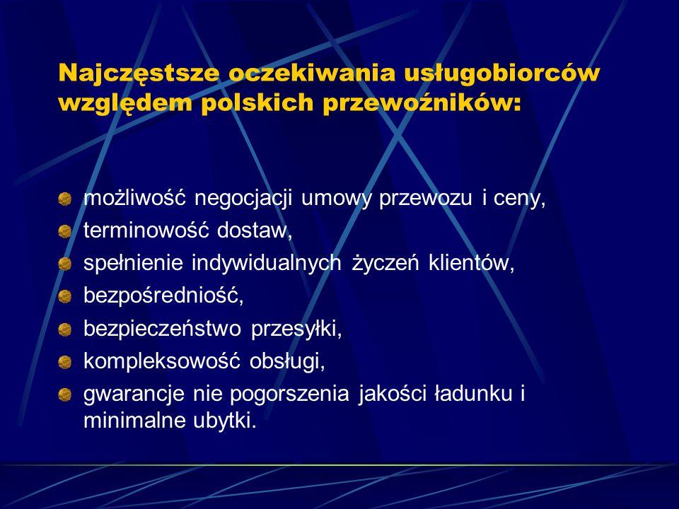 Najczęstsze oczekiwania usługobiorców względem polskich przewoźników: