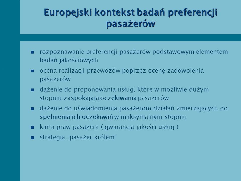 Europejski kontekst badań preferencji pasażerów