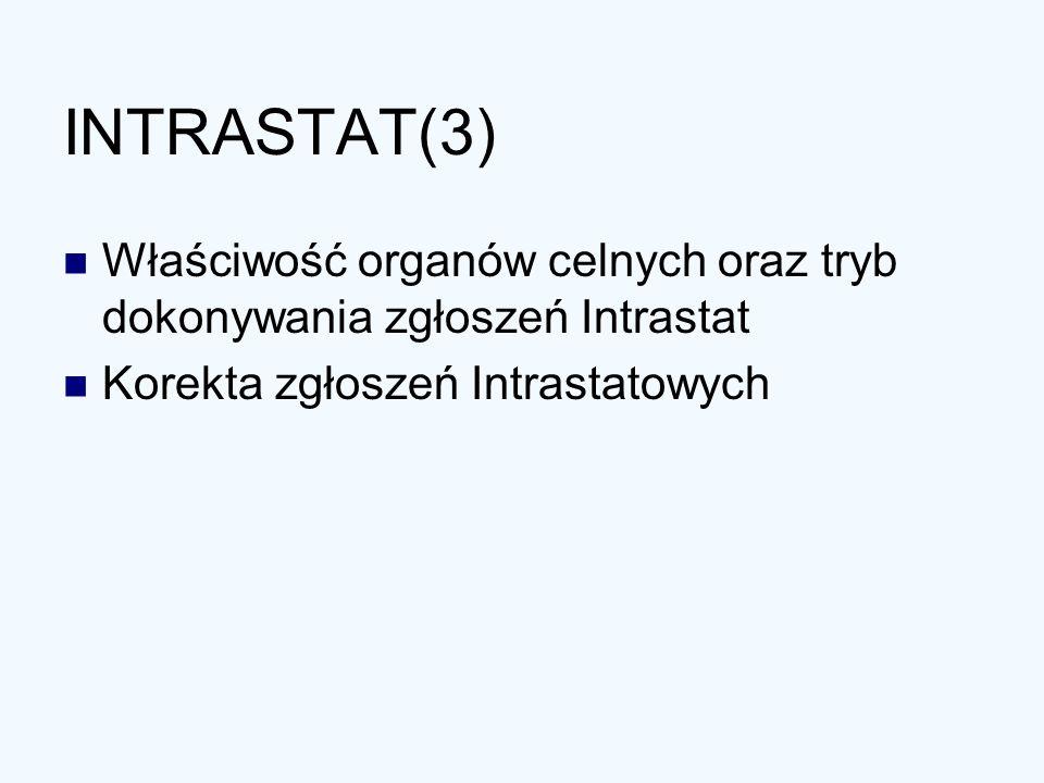 INTRASTAT(3) Właściwość organów celnych oraz tryb dokonywania zgłoszeń Intrastat.