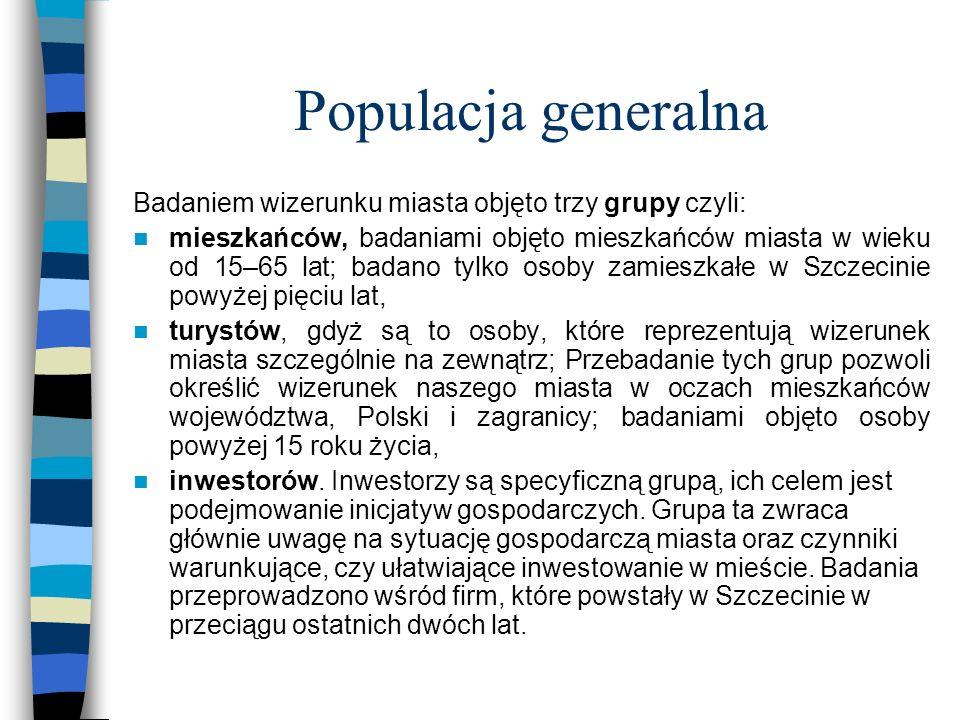 Populacja generalna Badaniem wizerunku miasta objęto trzy grupy czyli: