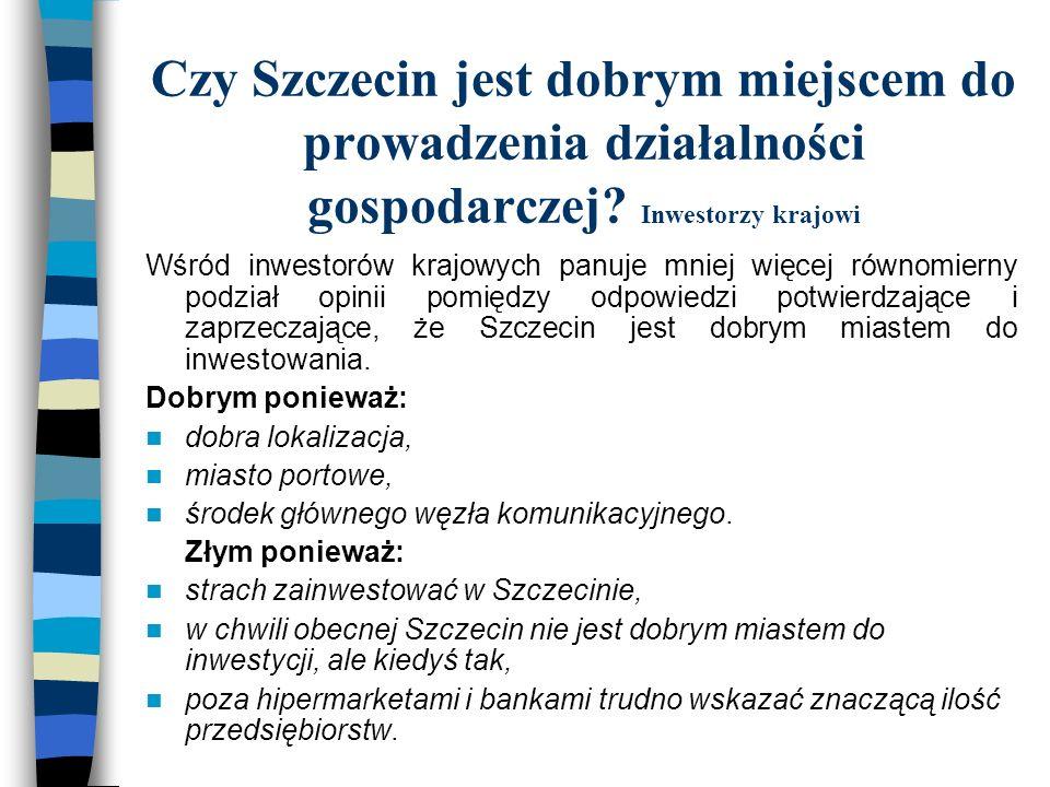 Czy Szczecin jest dobrym miejscem do prowadzenia działalności gospodarczej Inwestorzy krajowi