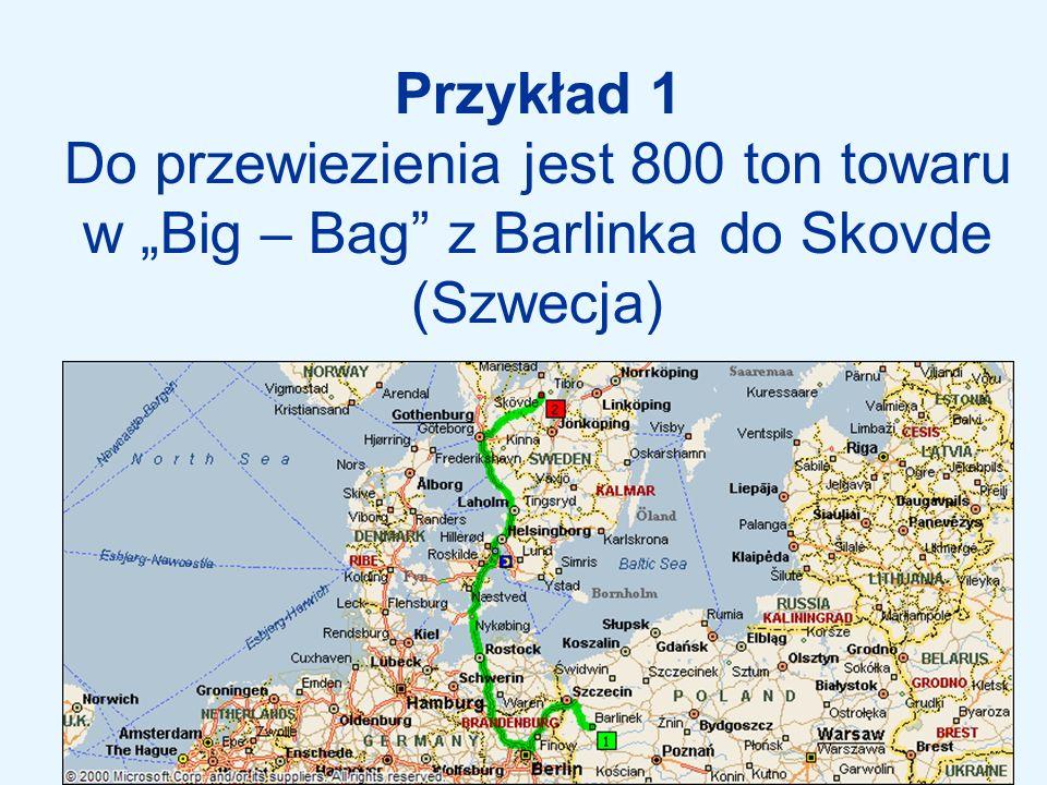 """Przykład 1 Do przewiezienia jest 800 ton towaru w """"Big – Bag z Barlinka do Skovde (Szwecja)"""