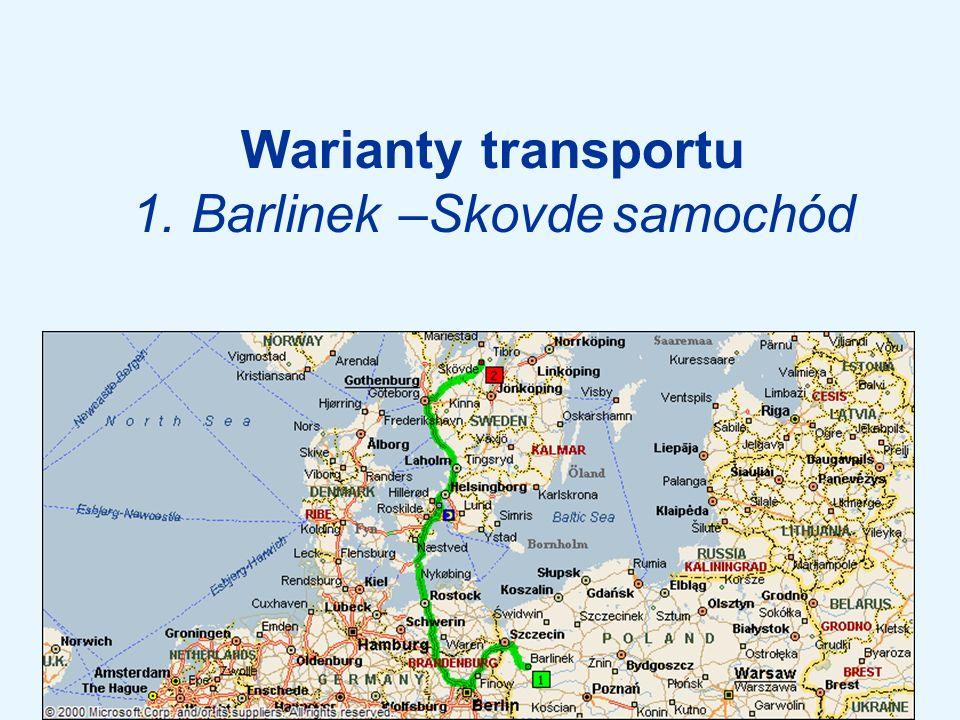 Warianty transportu 1. Barlinek –Skovde samochód