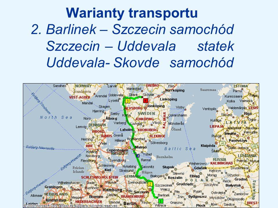 Warianty transportu 2. Barlinek – Szczecin