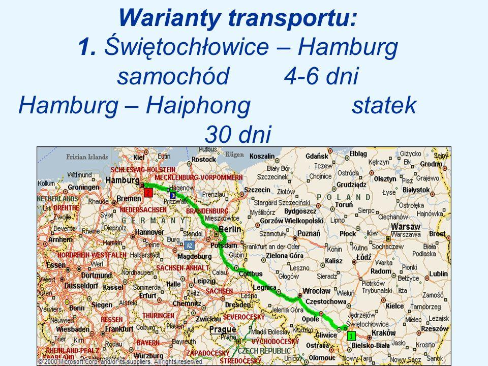 Warianty transportu: 1. Świętochłowice – Hamburg samochód 4-6 dni Hamburg – Haiphong statek 30 dni