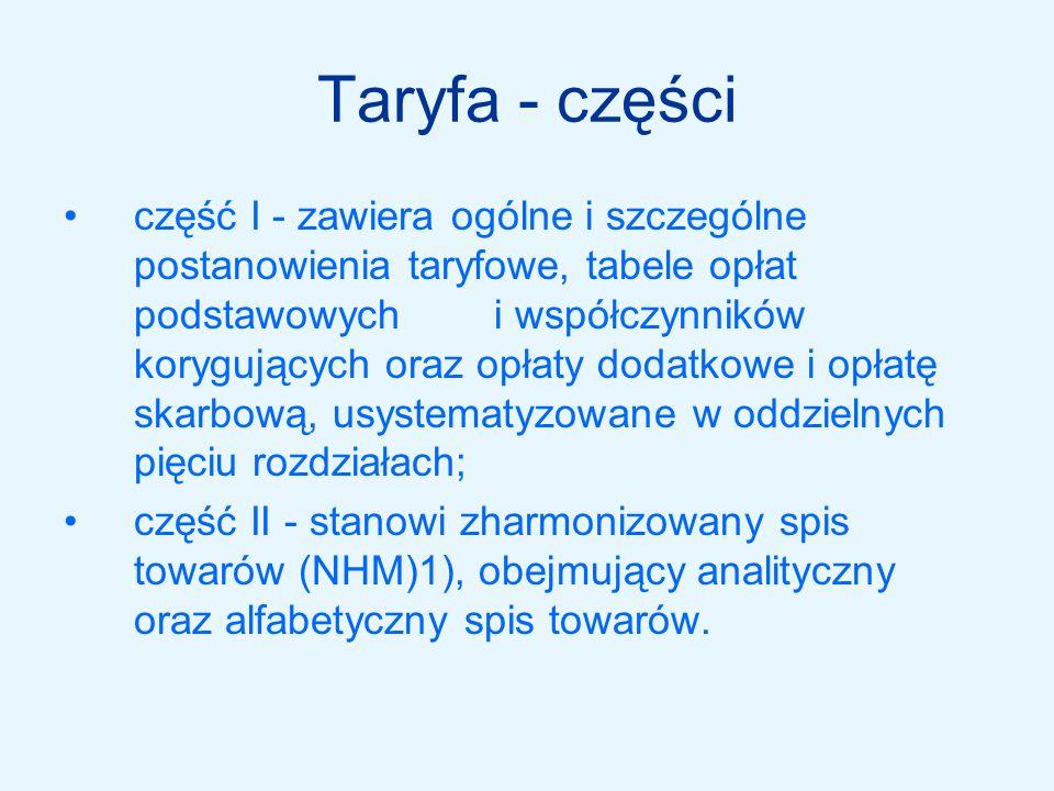 Taryfa - części