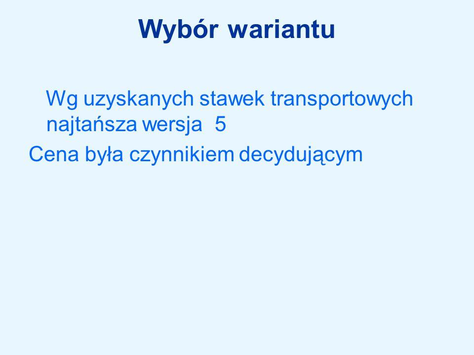 Wybór wariantu Wg uzyskanych stawek transportowych najtańsza wersja 5