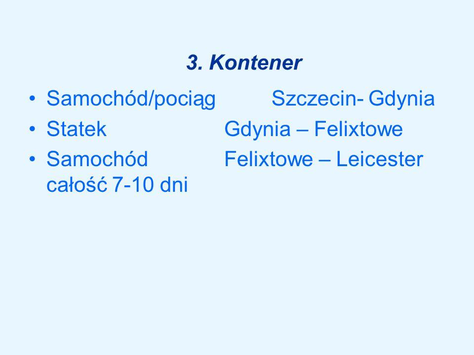 3. Kontener Samochód/pociąg Szczecin- Gdynia. Statek Gdynia – Felixtowe.