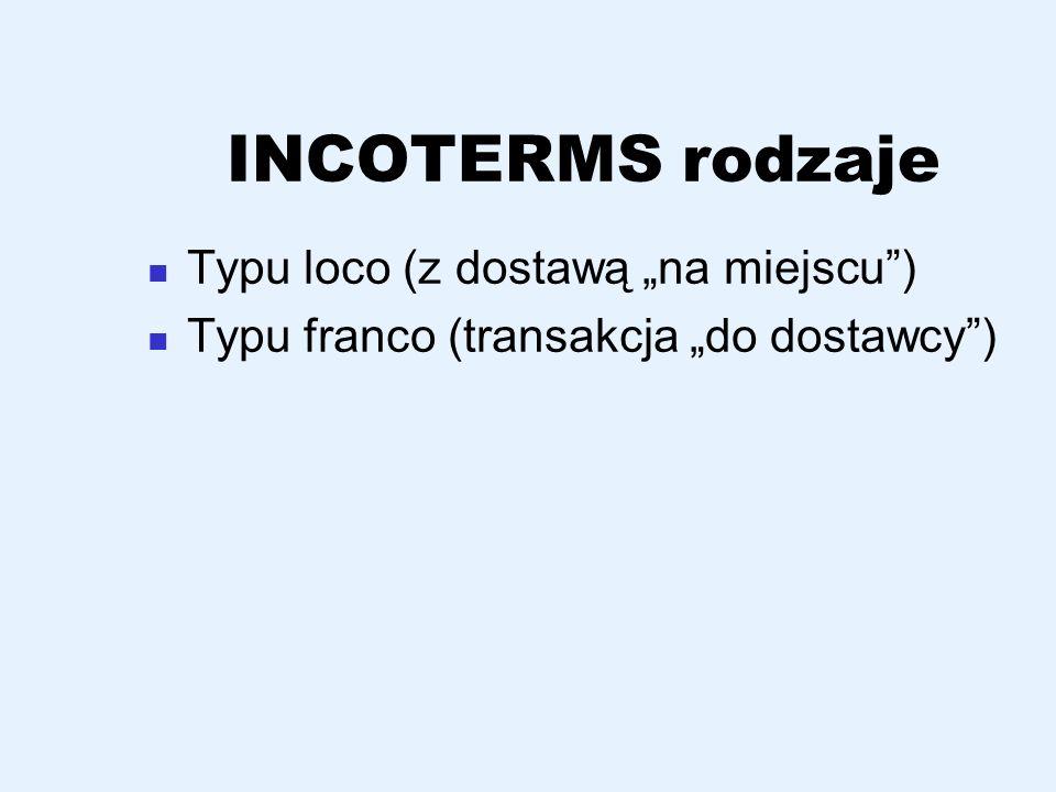 """INCOTERMS rodzaje Typu loco (z dostawą """"na miejscu )"""