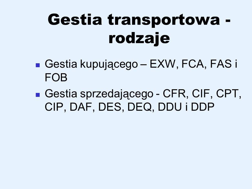 Gestia transportowa - rodzaje