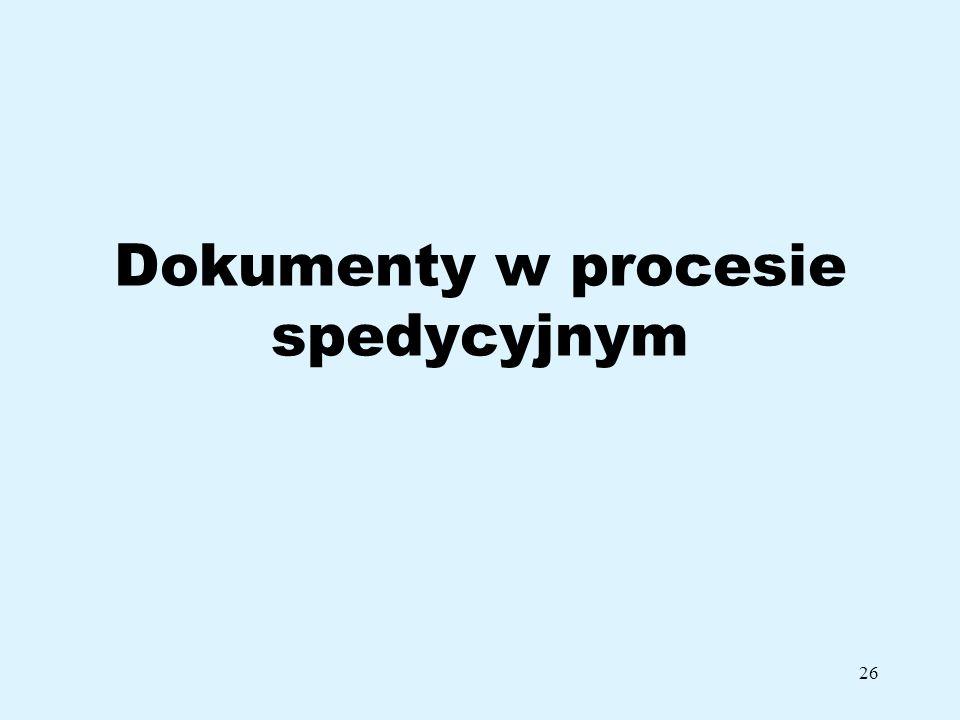 Dokumenty w procesie spedycyjnym
