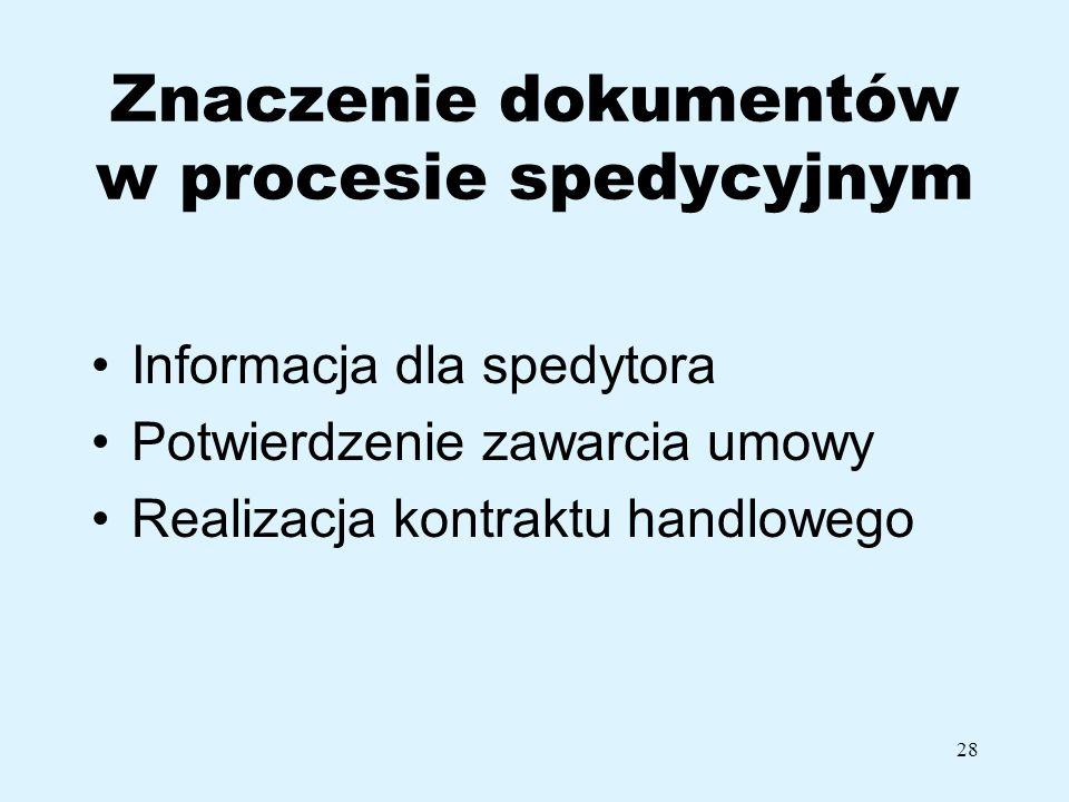 Znaczenie dokumentów w procesie spedycyjnym