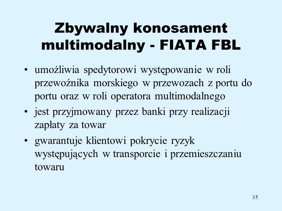 Zbywalny konosament multimodalny - FIATA FBL