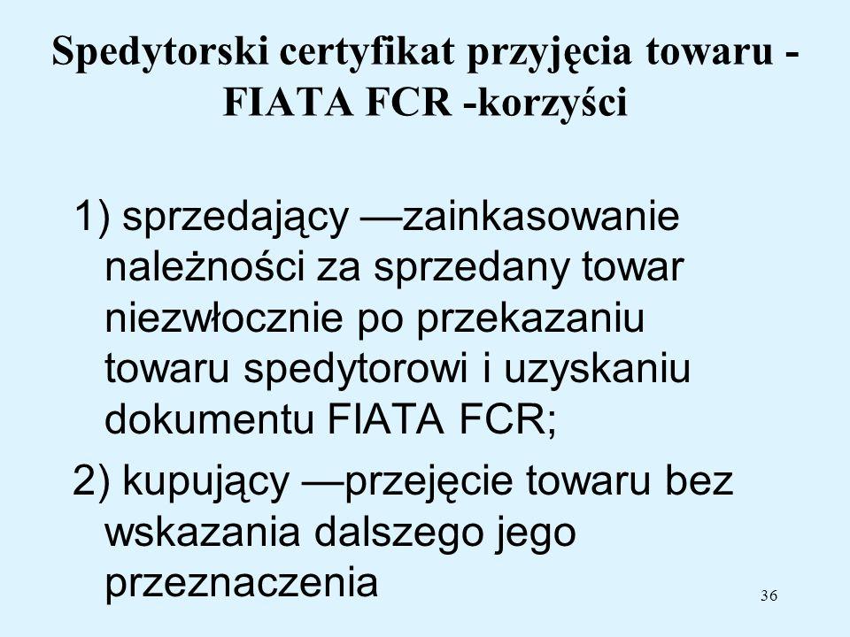 Spedytorski certyfikat przyjęcia towaru - FIATA FCR -korzyści