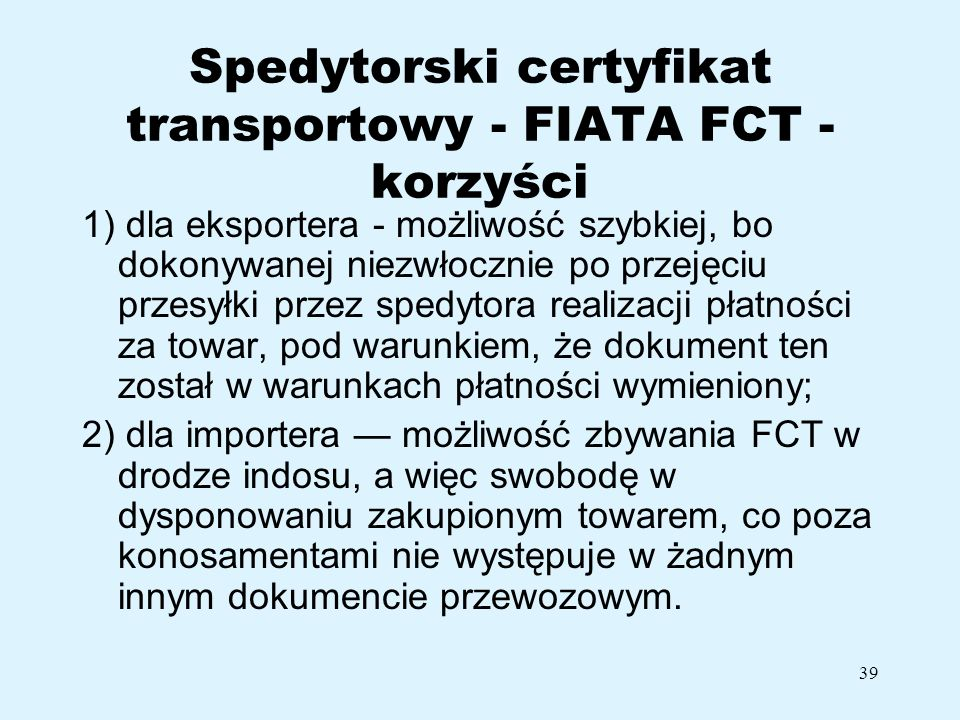 Spedytorski certyfikat transportowy - FIATA FCT - korzyści