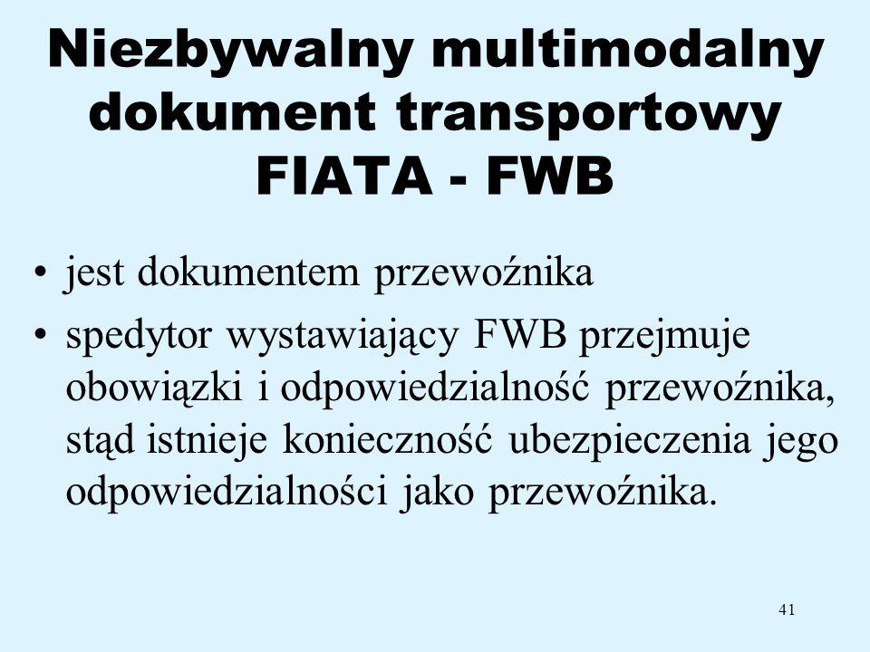 Niezbywalny multimodalny dokument transportowy FIATA - FWB