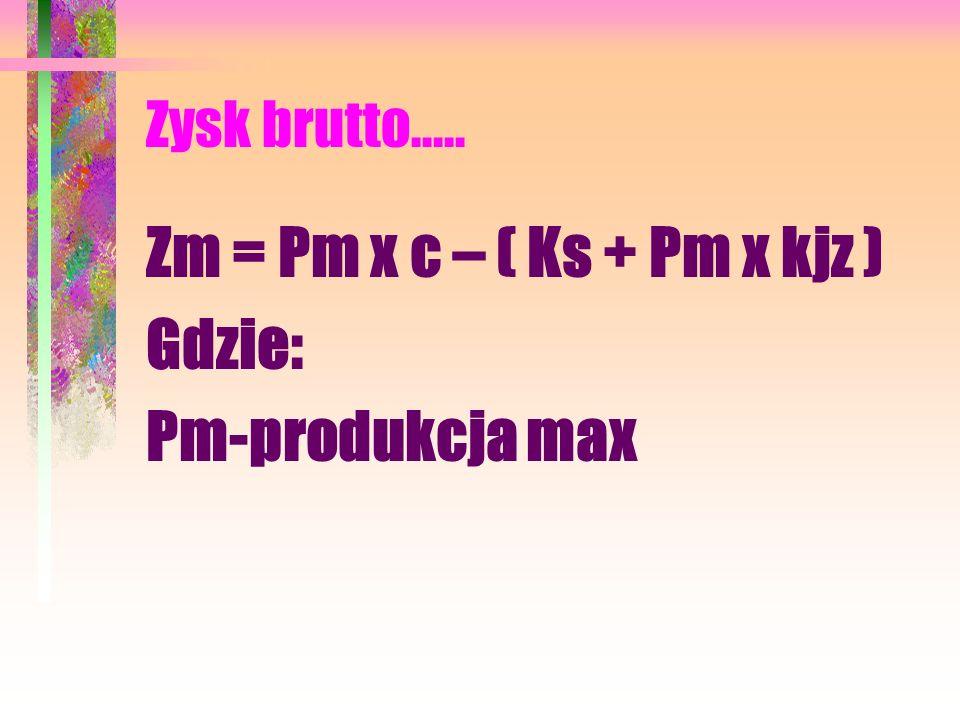 Zm = Pm x c – ( Ks + Pm x kjz ) Gdzie: Pm-produkcja max