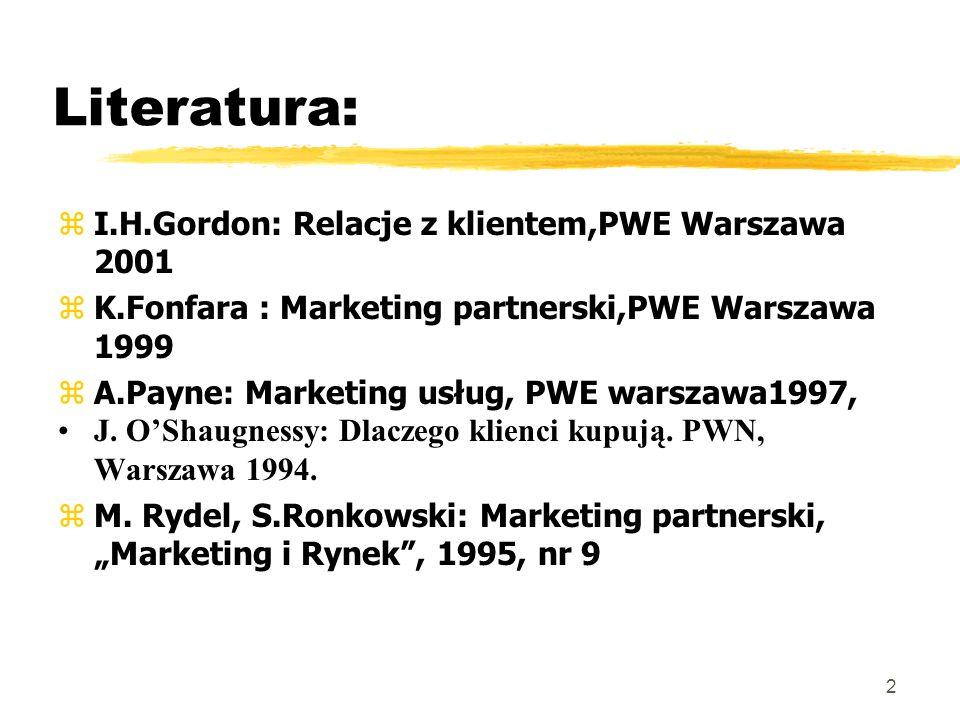 Literatura: I.H.Gordon: Relacje z klientem,PWE Warszawa 2001