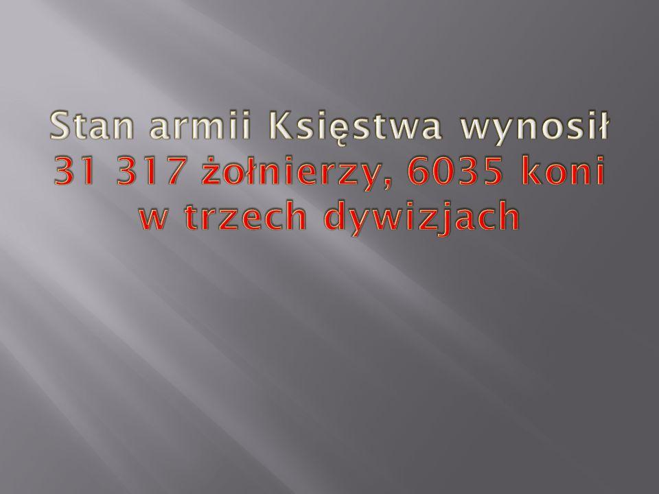 Stan armii Księstwa wynosił 31 317 żołnierzy, 6035 koni w trzech dywizjach