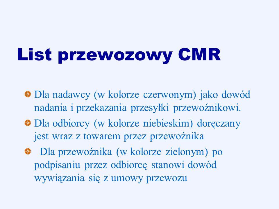 List przewozowy CMRDla nadawcy (w kolorze czerwonym) jako dowód nadania i przekazania przesyłki przewoźnikowi.