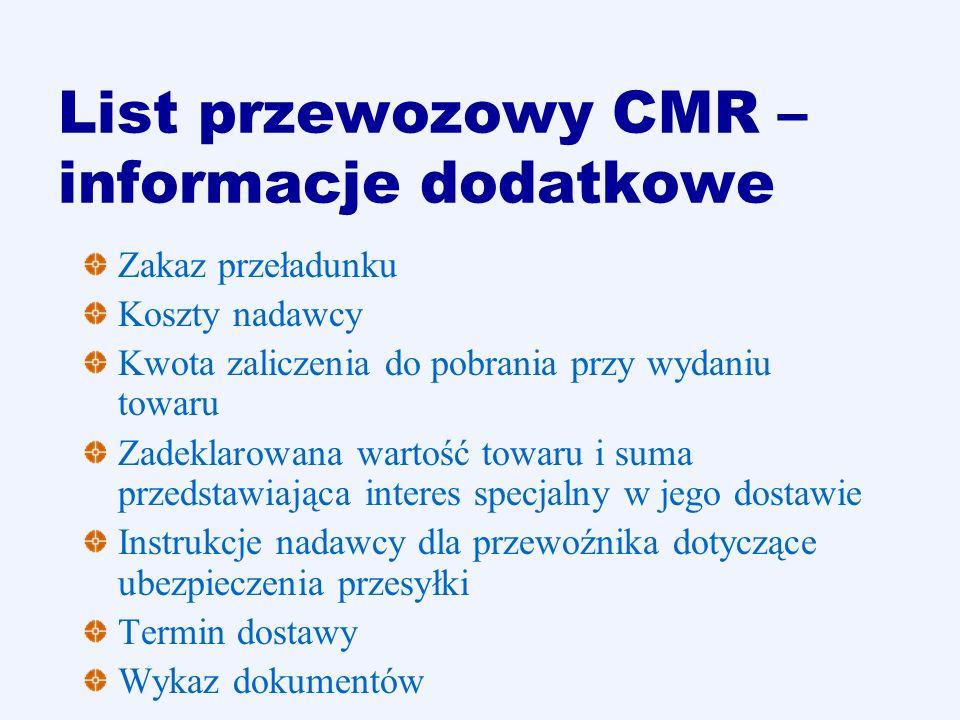 List przewozowy CMR – informacje dodatkowe