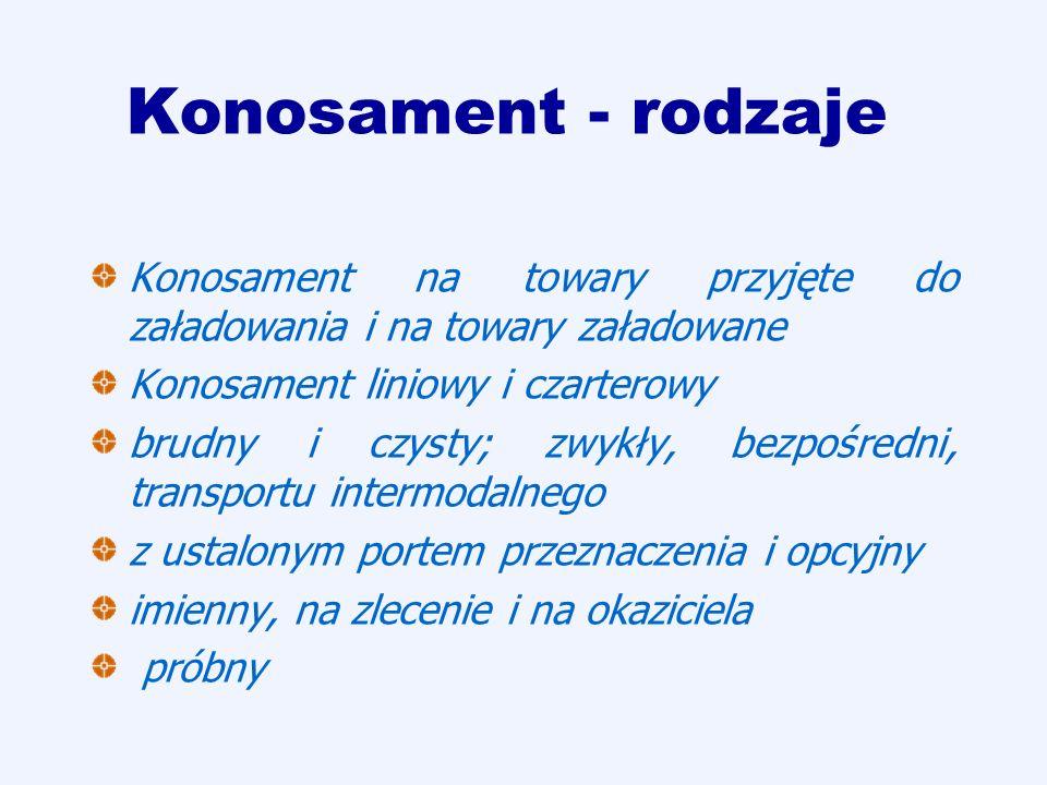 Konosament - rodzajeKonosament na towary przyjęte do załadowania i na towary załadowane. Konosament liniowy i czarterowy.