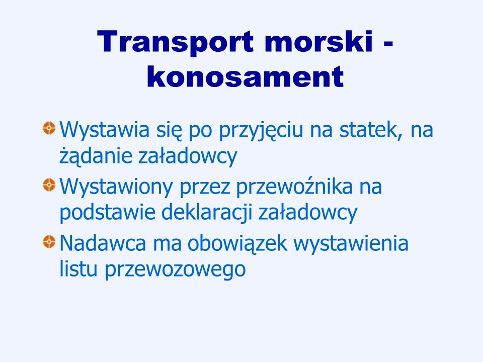 Transport morski - konosament