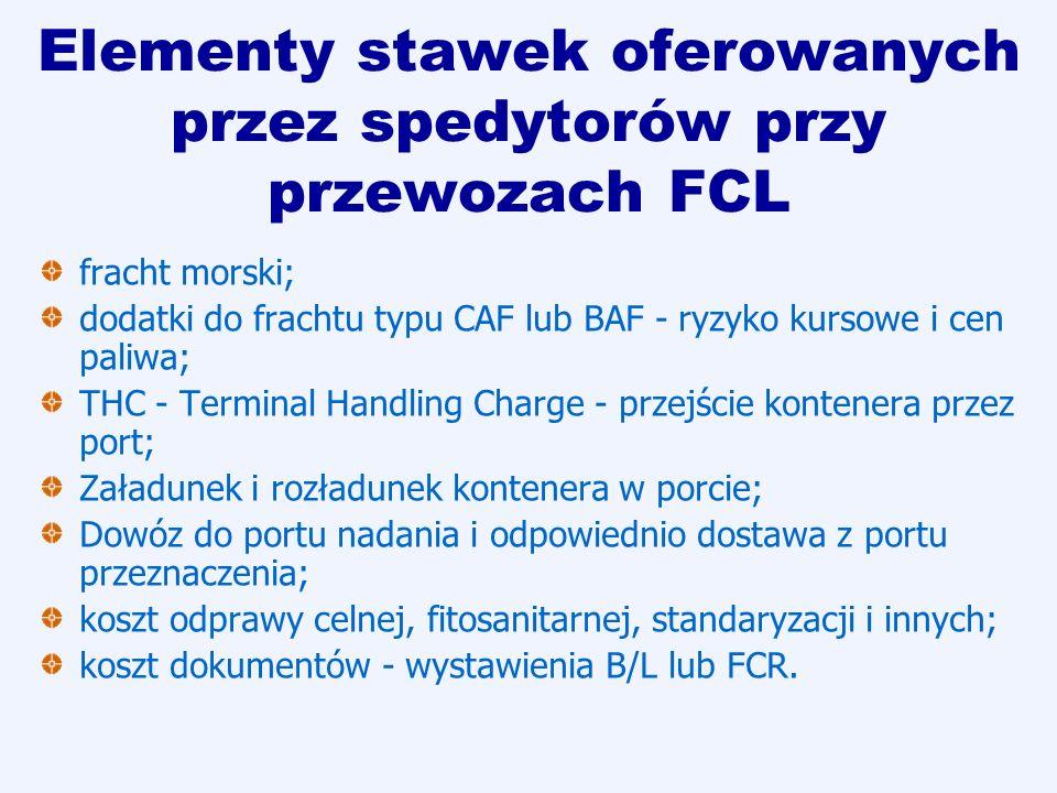 Elementy stawek oferowanych przez spedytorów przy przewozach FCL