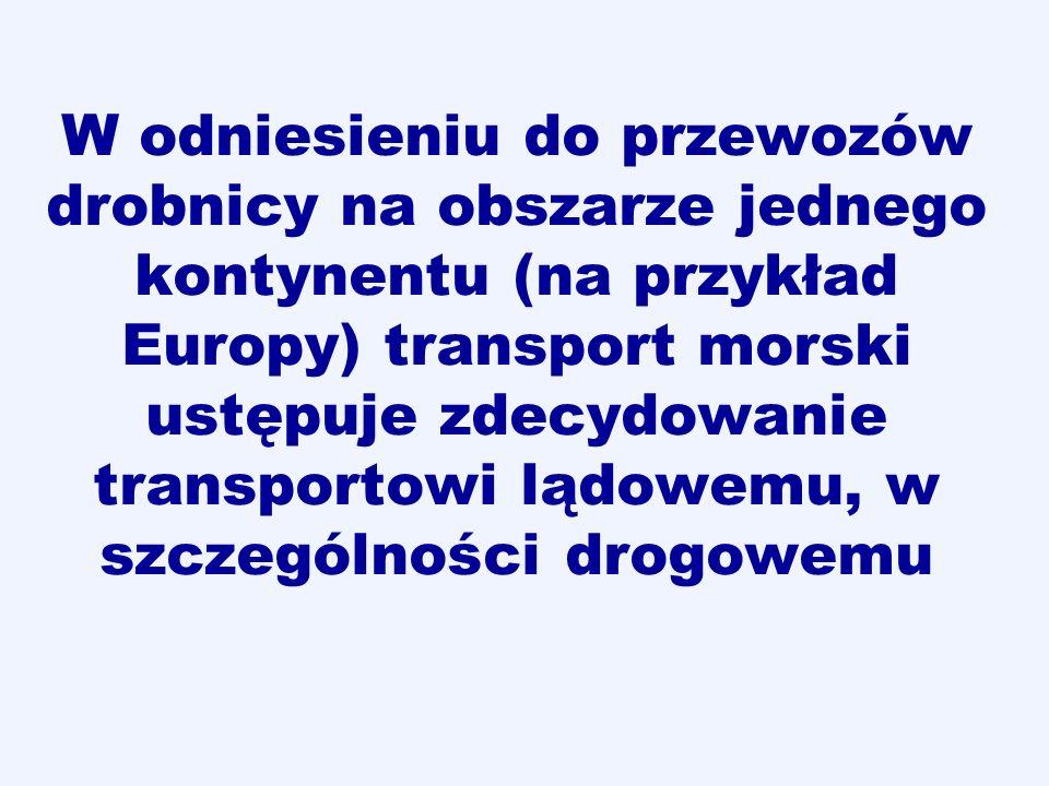 W odniesieniu do przewozów drobnicy na obszarze jednego kontynentu (na przykład Europy) transport morski ustępuje zdecydowanie transportowi lądowemu, w szczególności drogowemu